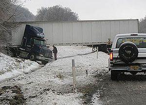image: UK truck jacknife freight brakes haulage snow