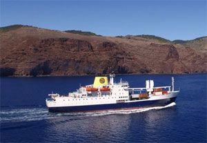 image: St Helena UK overseas territory container TEU general cargo ship vessel