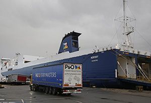 image: UK port RoRo logistics freight ferry terminal berth River Thames Tilbury cargo vessel