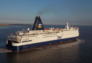 image: Eurotunnel P&O ferries freight shuttle cross Channel trucks