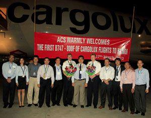 image: Cargolux air freight 747 8 Freighter Hanoi Vietnam US Fort Worth Dallas Brazil Boeing