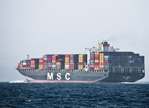 image: MSC Mediterranean container shipping freight handling terminal Global infrastructure