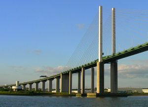 image: UK freight transport road haulage Dartford Severn crossing M25 HGV
