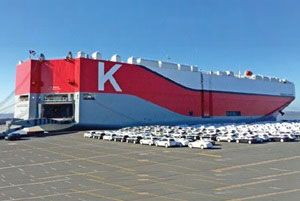 image: K Line cartel vehicle transport car carrier Kawasaki Kisen Kaisha