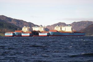 image: Maersk container shipping lines TEU ship vessel