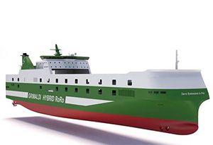 image: Denmark Italy solar power freight passenger RoRo ships vessels Grimaldi Finn Lines Knud E Hansen ferry
