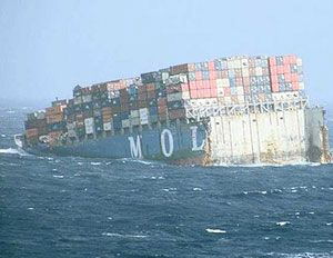 image: MOL Comfort sinks container shipping vessel Insurers box freight