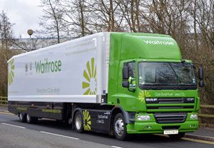 image: UK fuel savings road freight semi trailer ultra low carbon haulage fleet Waitrose John Lewis Gray & Adams