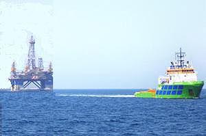 image: Oman Brazil oil rig tug voyage tonnes heavy lift
