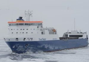 image: UK super ice class vessels RoRo project freight trailer cargo Trans Timber Bulk Swedish Orient Line John Good
