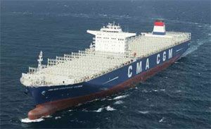 image: France South Korea container shipping TEU vessel CMA CGM