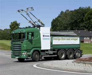 image: Sweden trolleybus commercial heavy goods vehicles Scania and Siemens freight road haulage tram train carriage