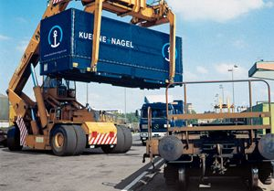 image: Kuehne + Nagel ocean freight forwarding logistics TEU reefer airfreight road haulage