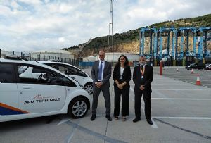 image: Spain APM Terminals port of Barcelona Go Green environment protection electric vehicles solar power container
