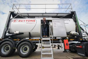 image: UK freight logistics Suttons tank containers hull design technology maritime supply chain Crowley