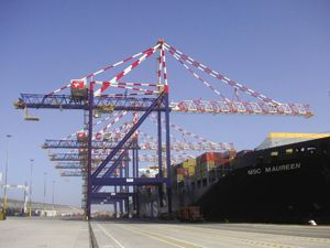 image: South Africa Ngqura freight container terminal TEU post panamax crane ship shore