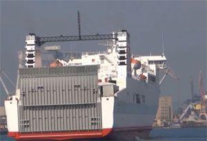 image: New Zealand inter island Wellington RoRo freight ferry Aratere KiwiRail Stena