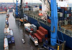 image: Panamax Cork Ireland deep water port mobile harbour crane bulk freight container cargo