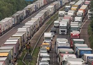 image: UK fuel road haulage freight transport association Operation Stack Osborne lorry park
