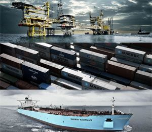 image: Denmark AP Moller Maersk container freight and logistics shipping terminal handling ports