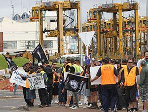 image: Auckland freight cargo tonnage port wharfie docker