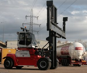image: UK tanker cleaning container handling fork lift truck