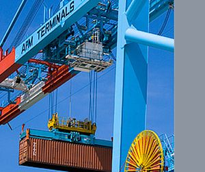 image: Maersk freight container bulk shipping logistics supply chain safety