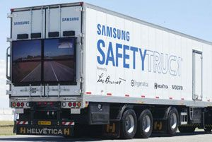 image: Volvo US road haulage freight operators truck safety Samsung