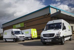 image: UK yodel parcel carrier vans