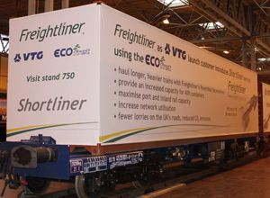 image: Freightliner intermodal container freight IT cranes rail wagon