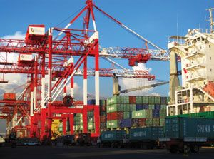image: Oceania container shipping port terminal crane bulk freight Liebherr mobile harbour crane