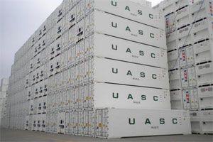image: UASC reefer container shipping line freight AV+ TEU Dubai Ocean Three