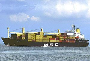 image: Mediterranean Shipping Company container freight Europe Australia Asia