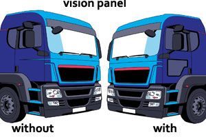 image: UK TfL road haulage operators trucks lorries vision panels freight RHA