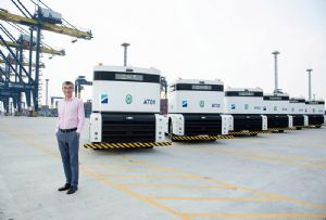 image: Thailand Hutchison Ports Q� trucks Qomolo container handling terminal Laem Chabang
