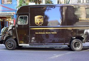 image: US UPS hybrid electric trucks freight rates LTL