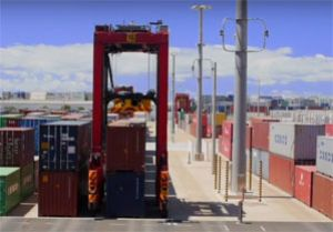 image: New Zealand port of Auckland container terminal stevedore robot cranes straddle carriers