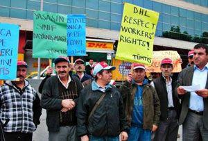 image: DHL UK freight forwarder logistics group Appel union ITF Turkey German union