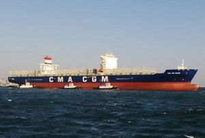 image: CMA CGM container shipping line logistics terminal freight services multimodal