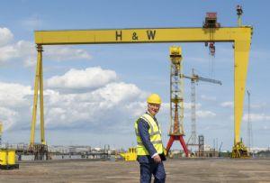 image: UK, Prince Charles, Harland & Wolff, shipyard, 160th, anniversary,