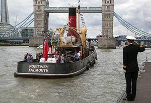 image: Portwey trust Royal Navy HMS President steam powered tug Clyde coal fired