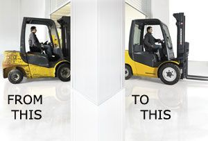 image: UK Rugby World Cup quarter final Jungheinrich fork lift truck materials handling