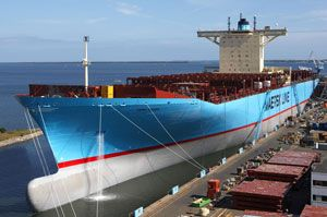 image: Asia Europe container shipping line freight vessel
