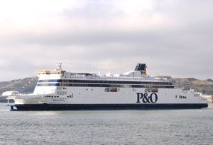 image: UK P&O France RoRo freight ferries Calais migrants road haulage transport transients truckers