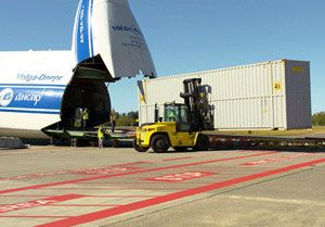 image: Russia US AN-124 freight cargo airline freighter Boeing Volga Dnepr logistics ocean container Washington 747