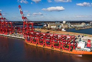 image: UK Port of Liverpool Peel freight handling container terminal appointments bulk commodity cranes ZPMC