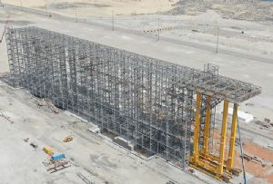 image: Dubai, Jebel Ali, DP World, container, terminal, storage, racks, stacks, freight, SMS, BoxBay,