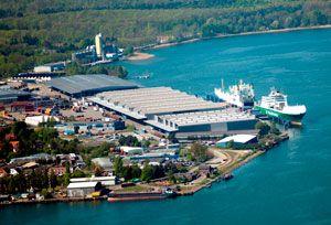 image: SCA Logistics Iggesund paper board container freight shipping RoRo terminal Kiel tonnes intermodal rail