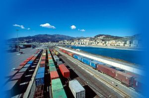 image: Europe Italy France rail cargo truck freight GPS infrastructure