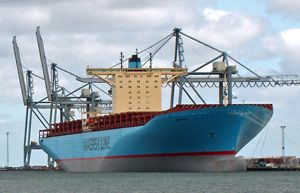 image: Denmark Maersk FCL container freight box carrier cargo shipping line